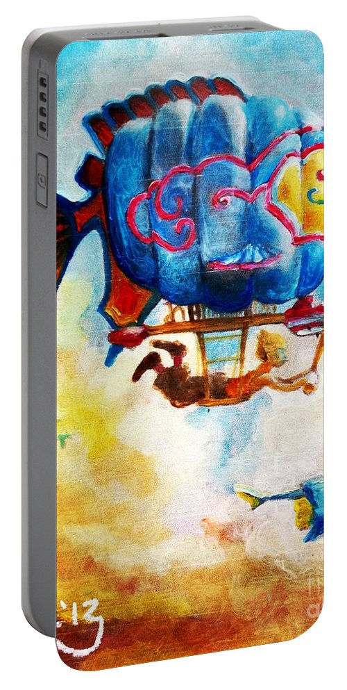 Imagination Portable Battery Charger featuring the mixed media Kiddography Cover By Tom Kidd by Maria Leah Comillas
