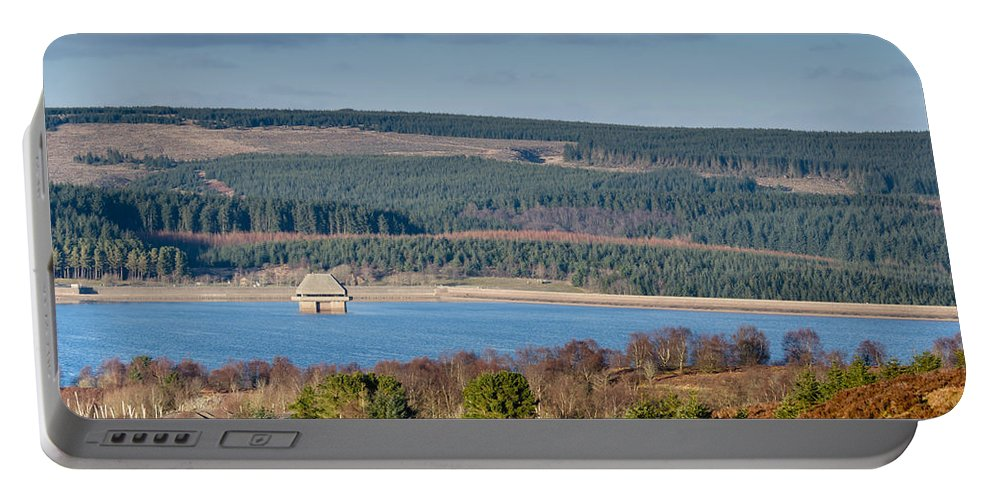 Northumberland Portable Battery Charger featuring the photograph Kielder Dam And Valve Tower by David Head