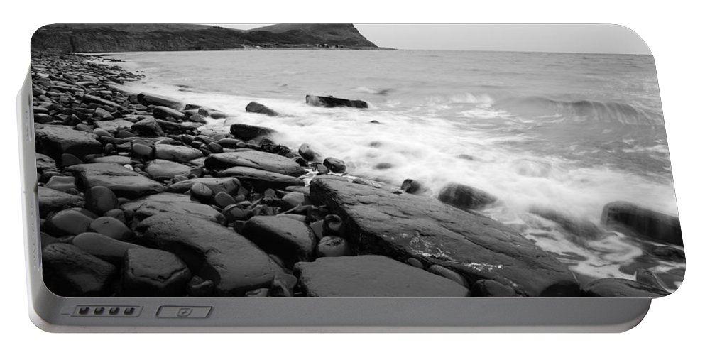 Kimmeridge Portable Battery Charger featuring the photograph Kimmeridge Bay In Black And White by Ian Middleton