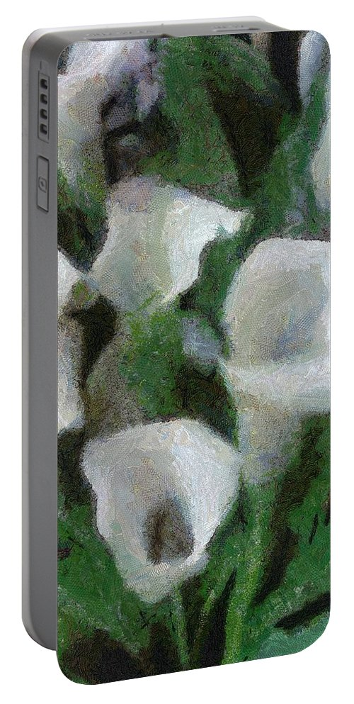 Bloom Portable Battery Charger featuring the painting Kim's Flowers by Jeffrey Kolker