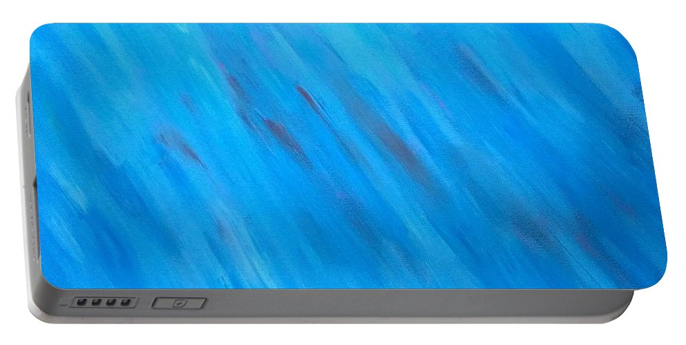 Abstract Portable Battery Charger featuring the painting Kind Of Blue by Kevin Ramlogan
