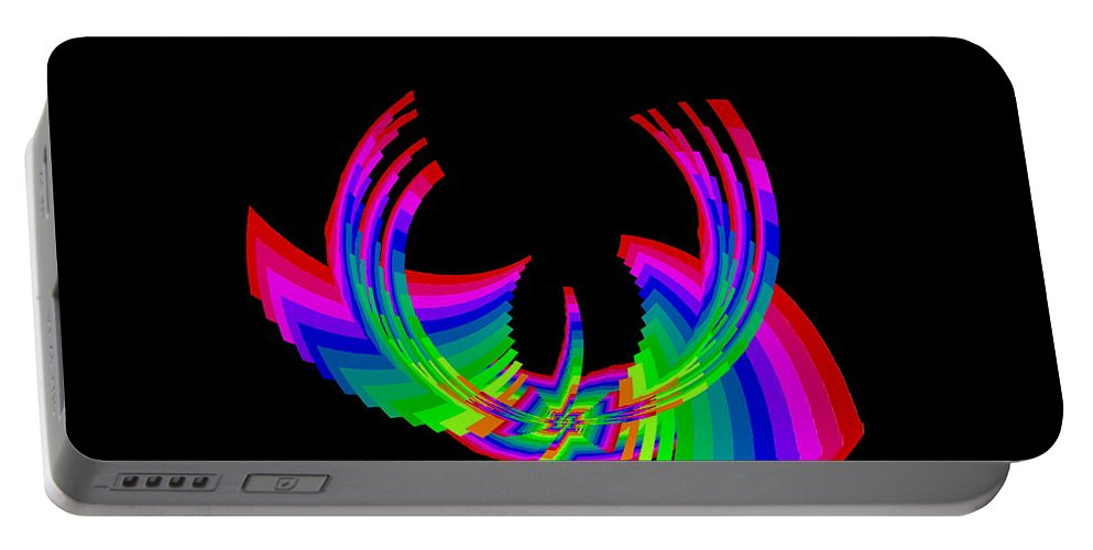 Abstract Portable Battery Charger featuring the digital art Kinetic Rainbow 49 by Tim Allen