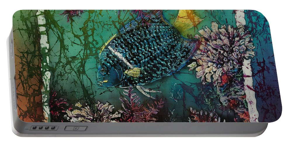 King Angelfish Portable Battery Charger featuring the painting King Angelfish by Sue Duda