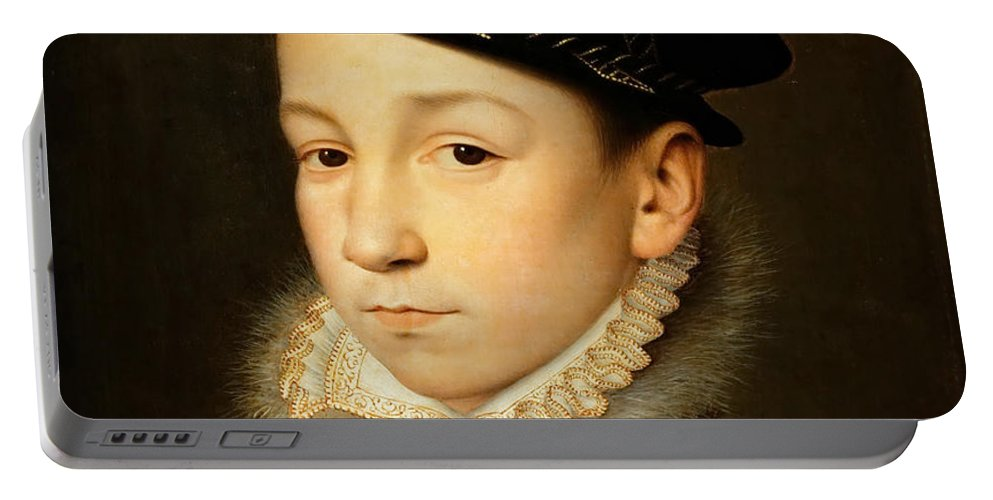 Francois Clouet Portable Battery Charger featuring the painting King Charles Ix Of France by Francois Clouet
