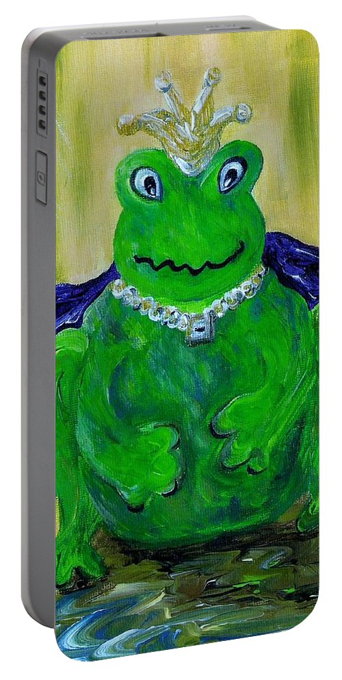 Frog Portable Battery Charger featuring the painting King For A Day by Eloise Schneider Mote