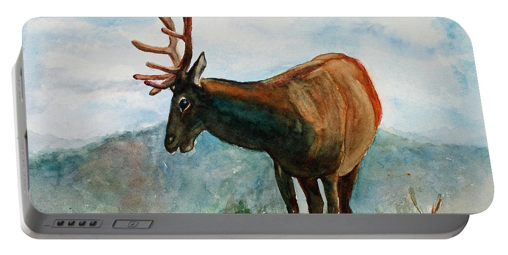 Elk Portable Battery Charger featuring the painting King Of The Hill by Mary Benke