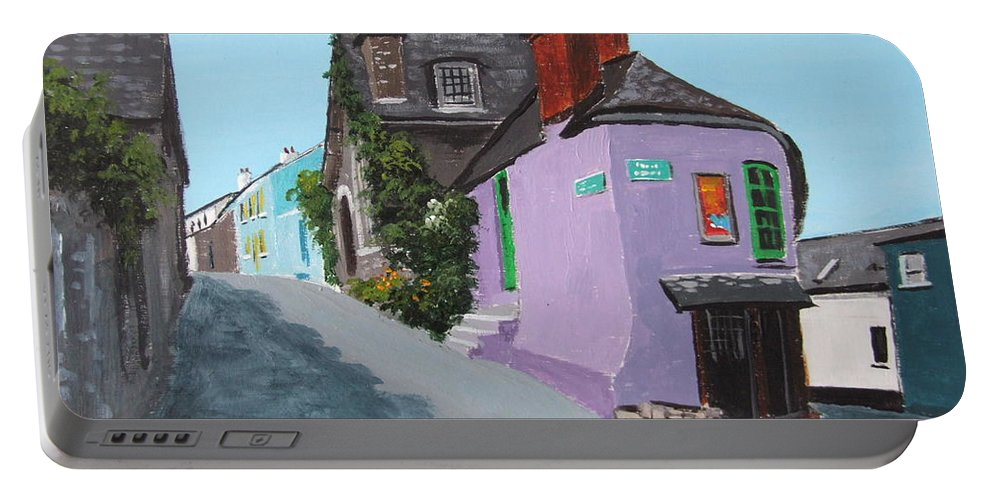 Kinsale Portable Battery Charger featuring the painting Kinsale Corner Shop by Tony Gunning