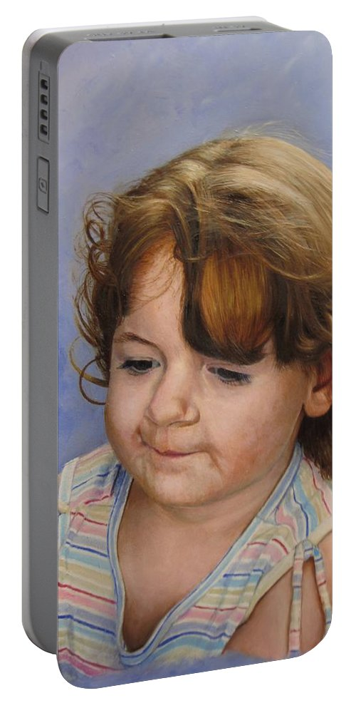 Child Portrait Portable Battery Charger featuring the painting Kira 2 by Glenn Beasley