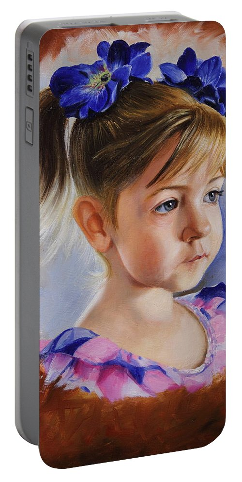 All Portable Battery Charger featuring the painting Kira by Glenn Beasley