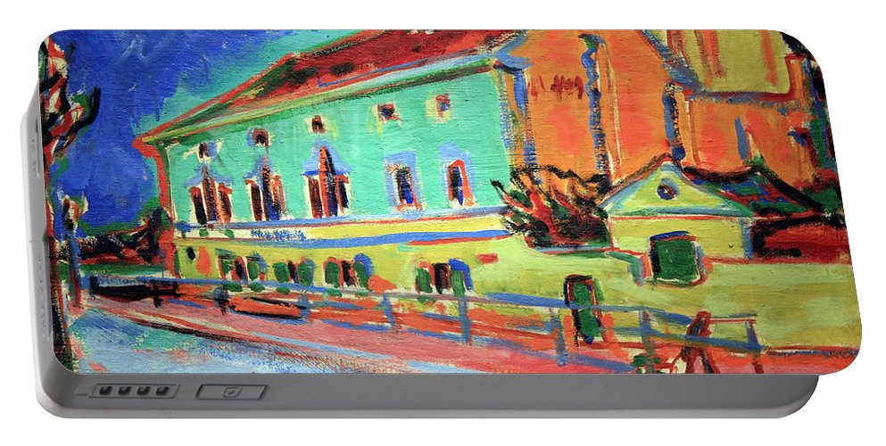 Houses In Dresden Portable Battery Charger featuring the photograph Kirchner's Houses In Dresden by Cora Wandel