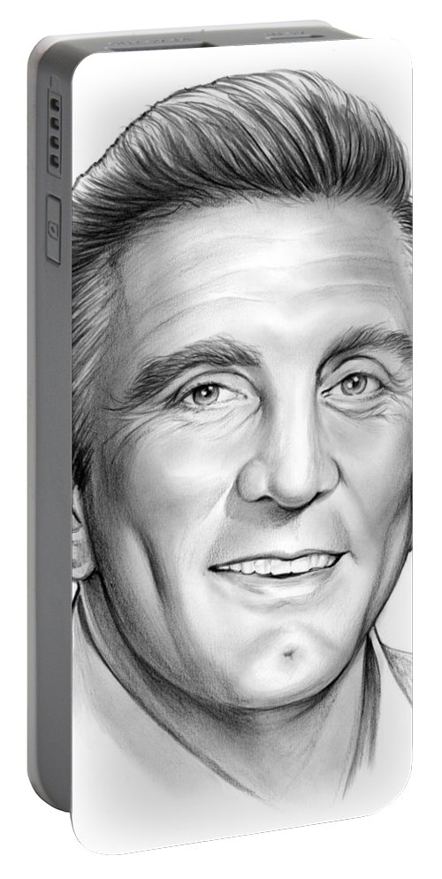 Kirk Douglas Portable Battery Charger featuring the drawing Kirk Douglas by Greg Joens