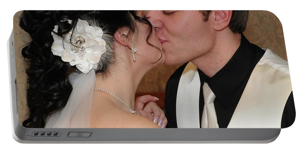 Bride Portable Battery Charger featuring the photograph Kiss by Kathleen Struckle