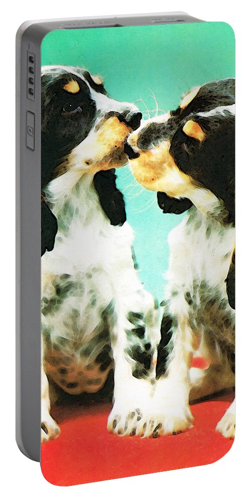 Cocker Spaniel Portable Battery Charger featuring the painting Kiss Me - Cocker Spaniel Art By Sharon Cummings by Sharon Cummings