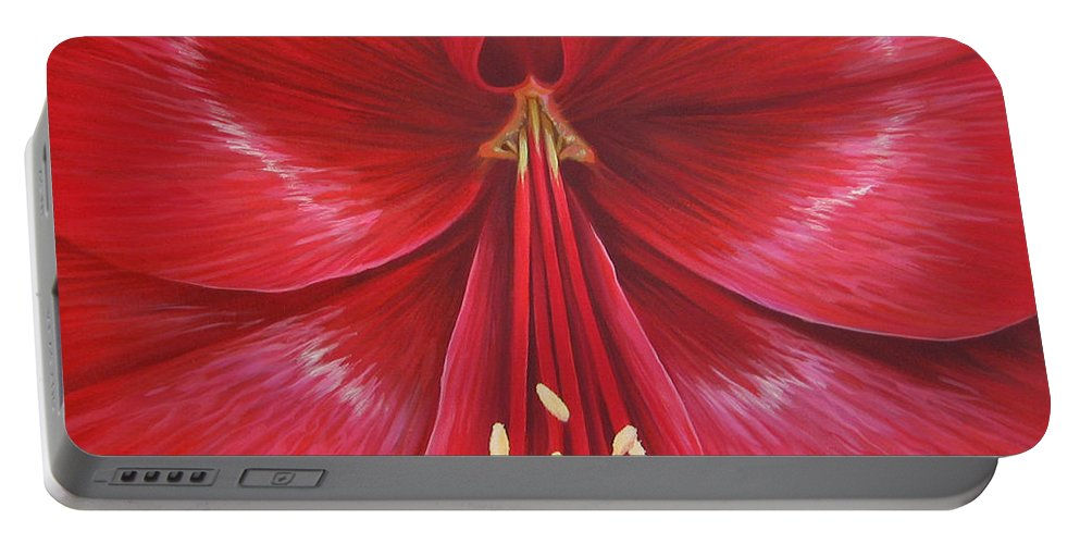 Botanical; Flower Portable Battery Charger featuring the painting Kiss Of Life by Hunter Jay
