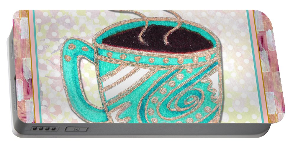 Art Portable Battery Charger featuring the painting Kitchen Cuisine Hot Cuppa Aqua By Romi And Megan by Megan Duncanson