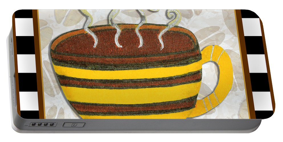 Art Portable Battery Charger featuring the painting Kitchen Cuisine Hot Cuppa No14 By Romi And Megan by Megan Duncanson