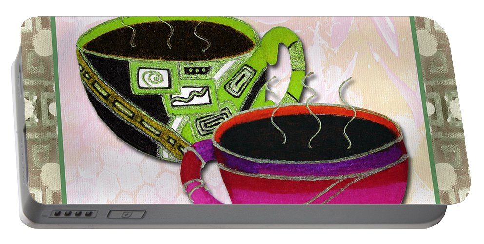 Art Portable Battery Charger featuring the painting Kitchen Cuisine Rooibos Tea Party By Romi And Megan by Megan Duncanson