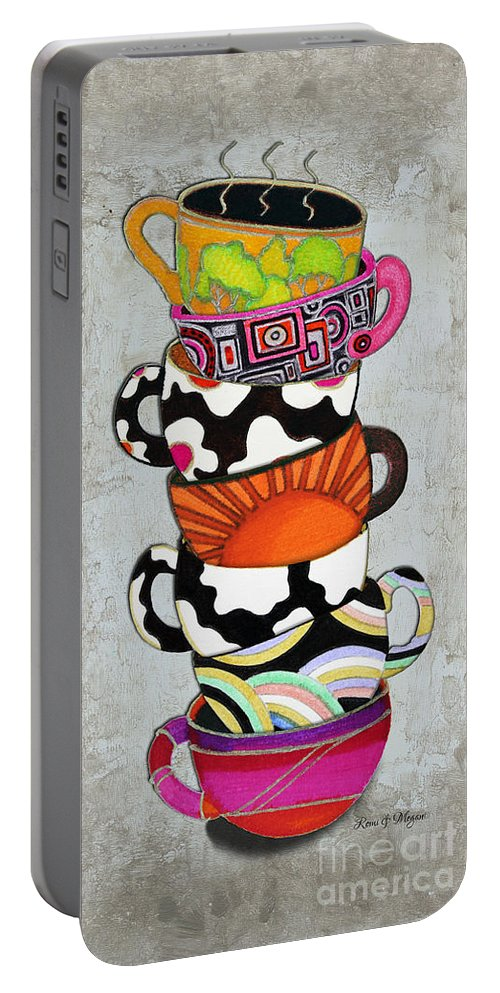 Art Portable Battery Charger featuring the painting Kitchen Cuisine Stacked Hot Cuppa 1 By Romi And Megan by Megan Duncanson