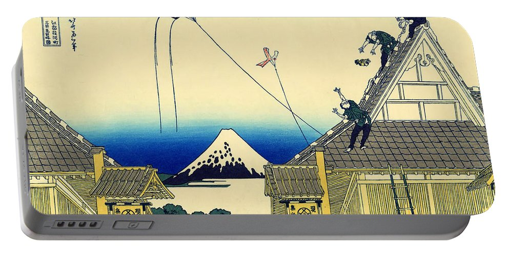 Painting Portable Battery Charger featuring the painting Kite Flying Over Mount Fuji by Mountain Dreams