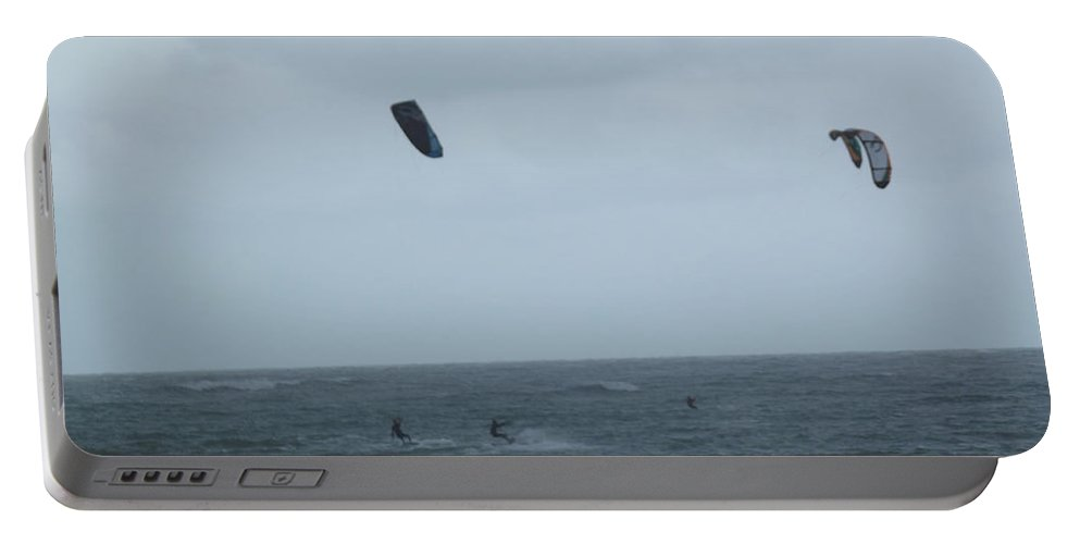 Kite Portable Battery Charger featuring the photograph Kite Surfing by Jennifer Lavigne