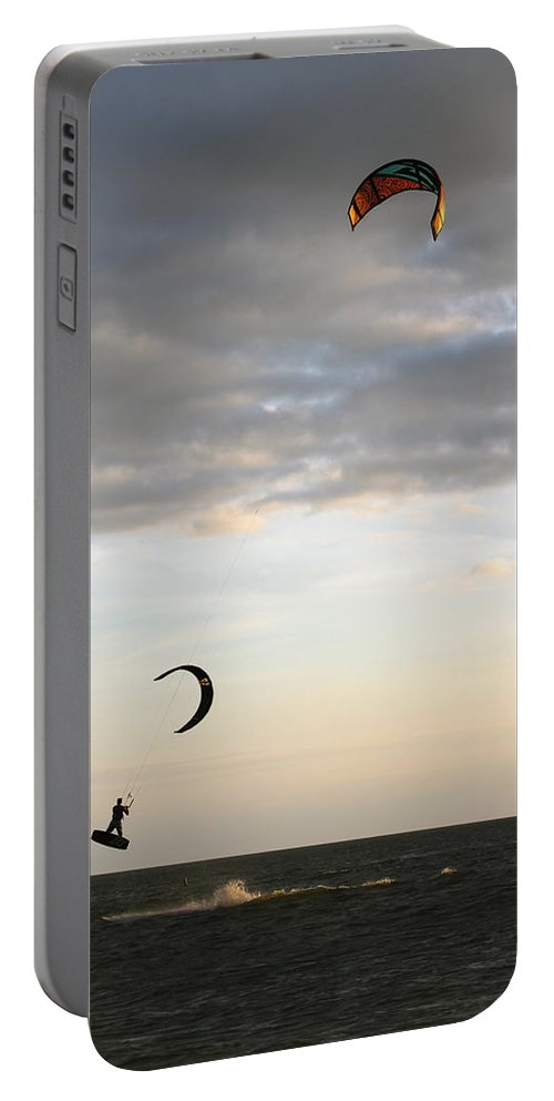 Kite Surfer Portable Battery Charger featuring the photograph Kite Surfing On Sanibel by Christiane Schulze Art And Photography