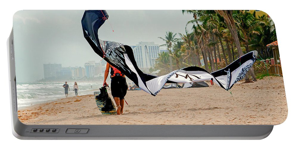Kitesurfing Portable Battery Charger featuring the photograph Kiteboard Gear by Keith Armstrong
