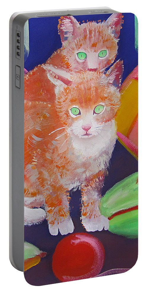 Kittens Portable Battery Charger featuring the painting kittens With A Ball of Wool by Charles Stuart