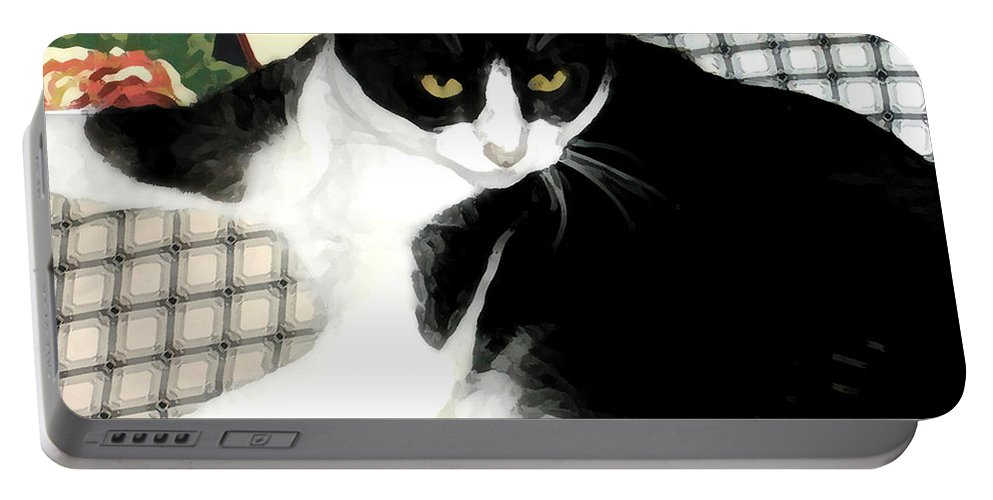 Black And White Portable Battery Charger featuring the photograph Kitty On His Perch by Jeanne A Martin