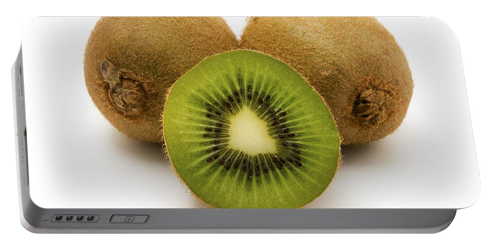 White Background Portable Battery Charger featuring the photograph Kiwifruits by Fabrizio Troiani