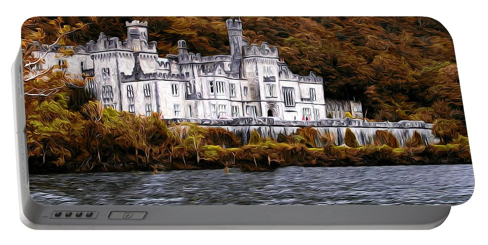 Irish Castle On The Water Portable Battery Charger featuring the photograph Klyemore Abbey by Bill Cannon