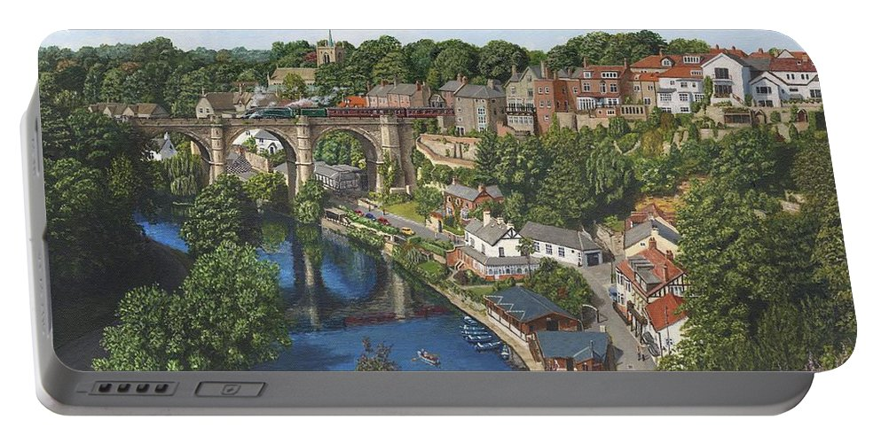 Landscape Portable Battery Charger featuring the painting Knaresborough Yorkshire by Richard Harpum