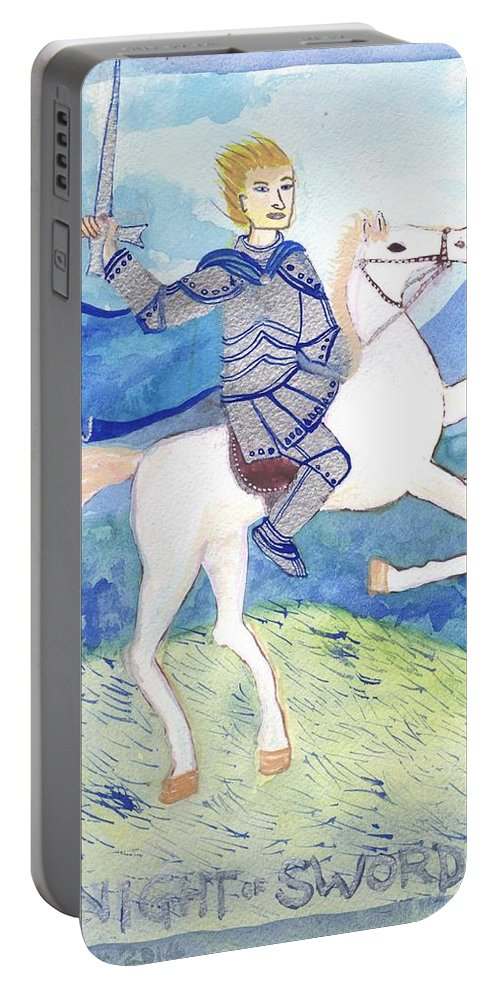 Tarot Portable Battery Charger featuring the painting Knight Of Swords by Sushila Burgess