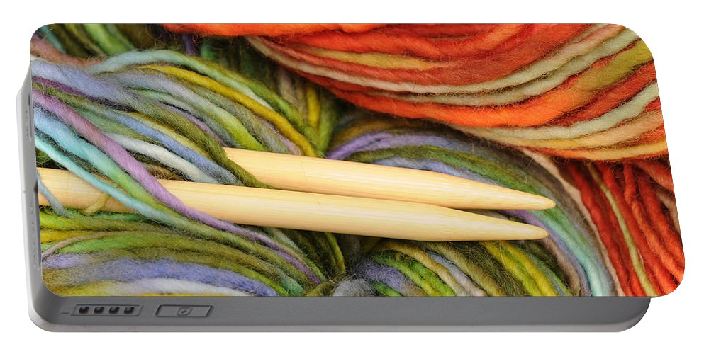 Knitting Needles Portable Battery Charger featuring the pyrography Knitting by Ilze Lucero