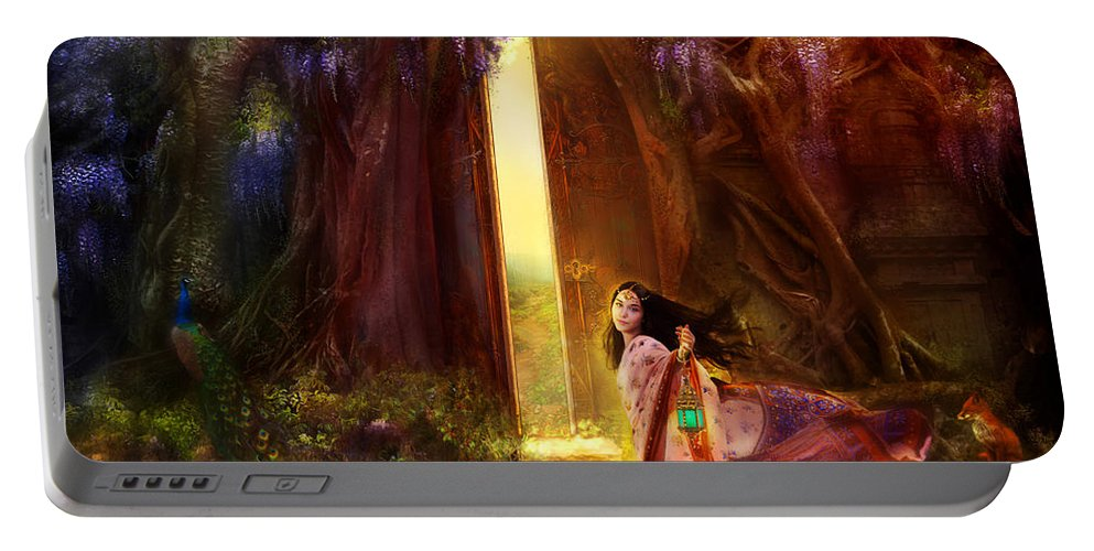 Fantasy Portable Battery Charger featuring the digital art Knock At The Door by Aimee Stewart