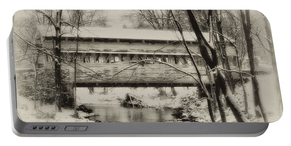 Knox Portable Battery Charger featuring the photograph Knox Valley Forge Covered Bridge by Bill Cannon