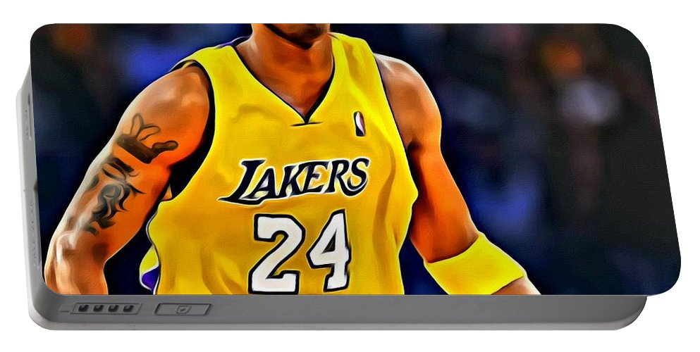 Kobe Portable Battery Charger featuring the painting Kobe Bryant Poster On Court by Florian Rodarte