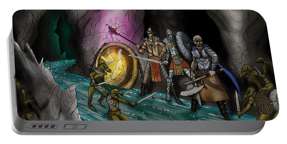 Usherwood Portable Battery Charger featuring the digital art Kobold Entry Cavern by James Kramer