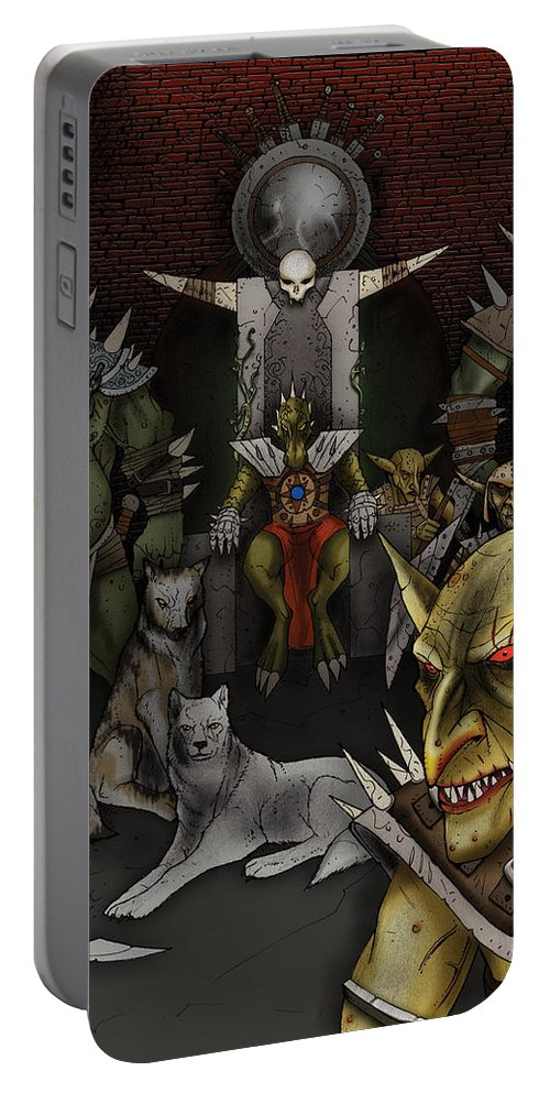 Usherwood Portable Battery Charger featuring the digital art Kobold Throne Room by James Kramer