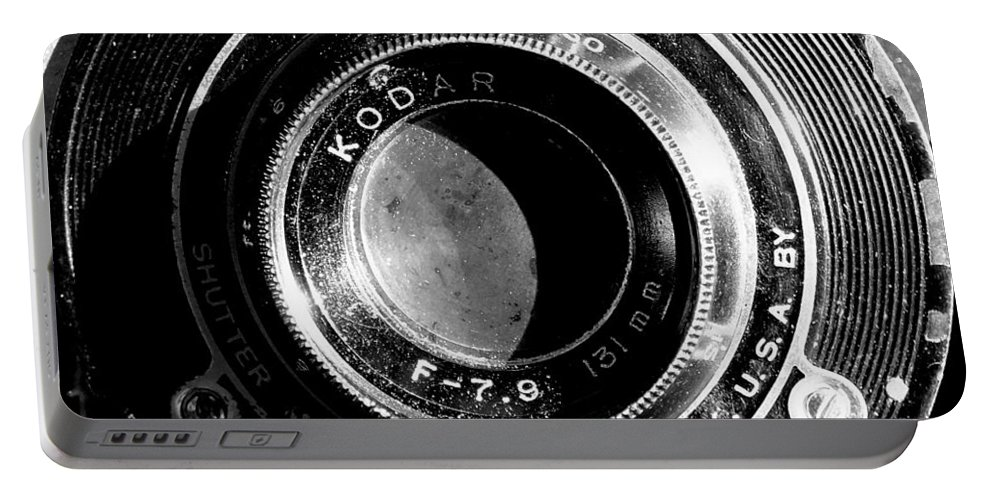 Camera Lens Rochester Aperture Vintage Black & White Film Photography Eastman Kodak Folding Brownie Portable Battery Charger featuring the photograph Kodak Brownie 2 by Guy Pettingell