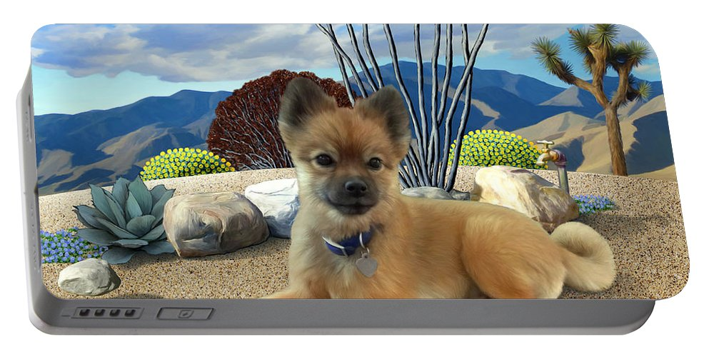 Dog Portable Battery Charger featuring the painting Kodi by Snake Jagger