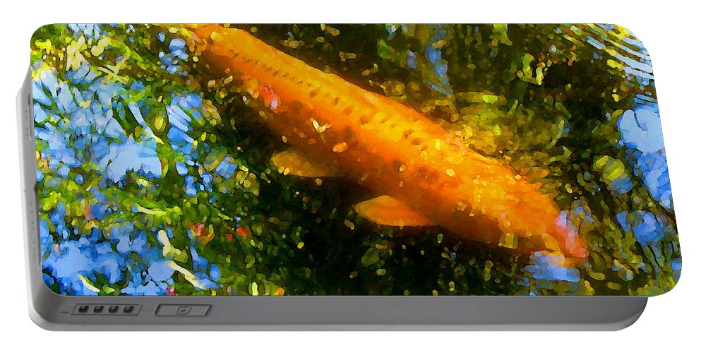 Animal Portable Battery Charger featuring the painting Koi Fish 1 by Amy Vangsgard