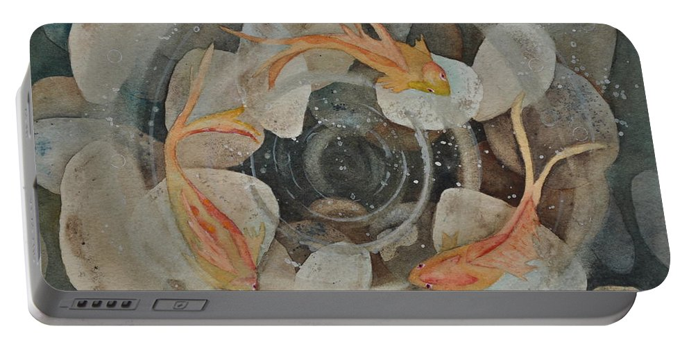 Koi Fish Garden Portable Battery Charger featuring the painting Koi Fish Garden by Sally Rice