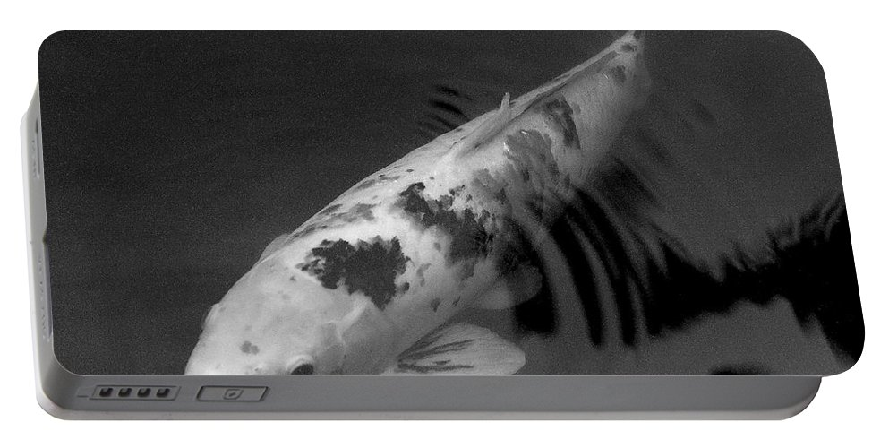 Black And White Portable Battery Charger featuring the photograph Koi In Black And White by Mary Deal