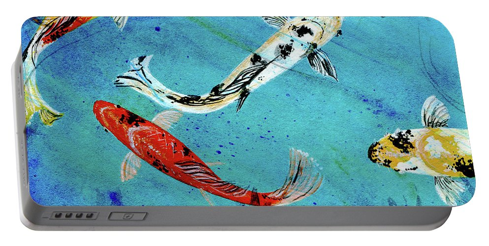 Koi Portable Battery Charger featuring the painting Koi by Lizi Beard-Ward