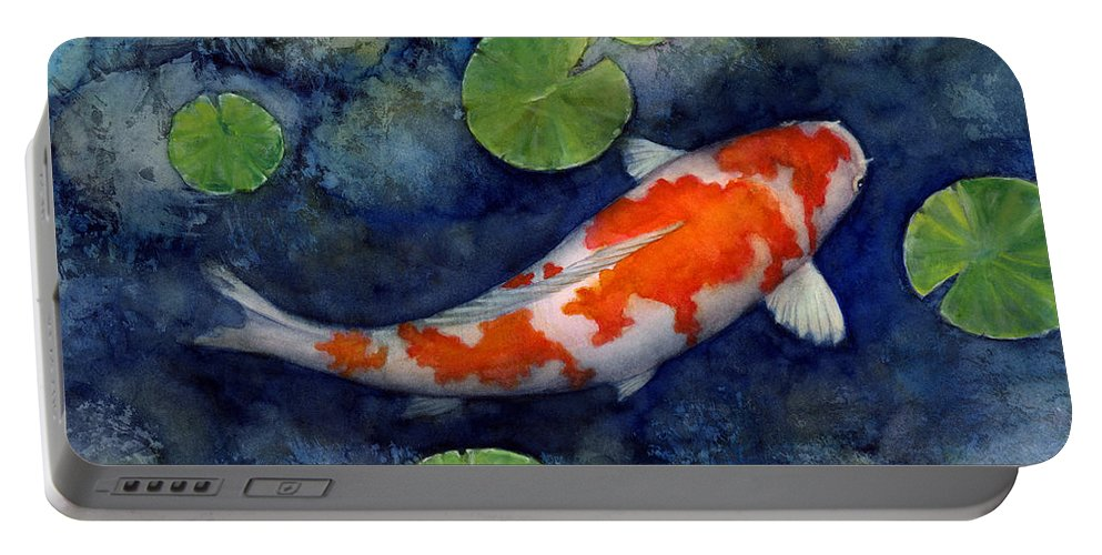 Koi Portable Battery Charger featuring the painting Koi Pond by Hailey E Herrera