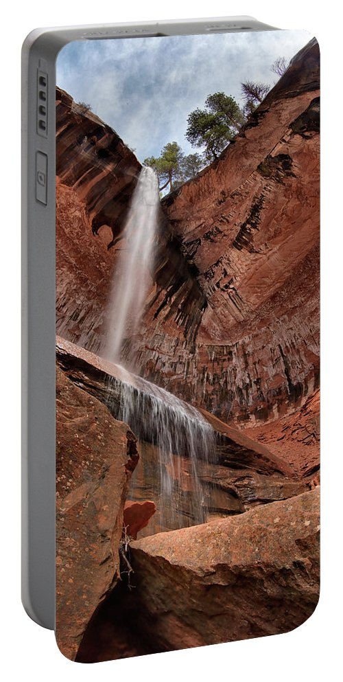 Falling Portable Battery Charger featuring the photograph Kolob Canyons Falling Waters by Leland D Howard
