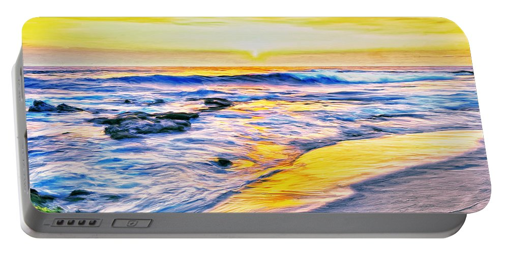 Kona Coast Sunset Portable Battery Charger featuring the painting Kona Coast Sunset by Dominic Piperata