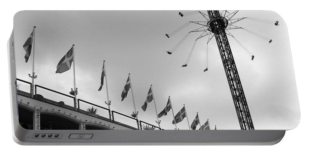 Black And White Portable Battery Charger featuring the photograph Kopenhavn De Tivoli Gardens 32 by Jeff Brunton