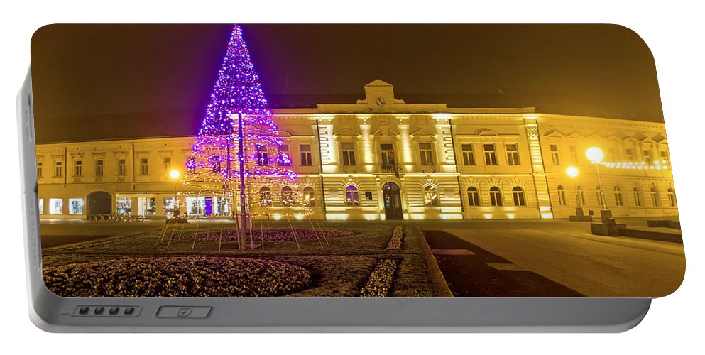 Christmas Portable Battery Charger featuring the photograph Koprivnica Night Street Christmas Scene by Brch Photography