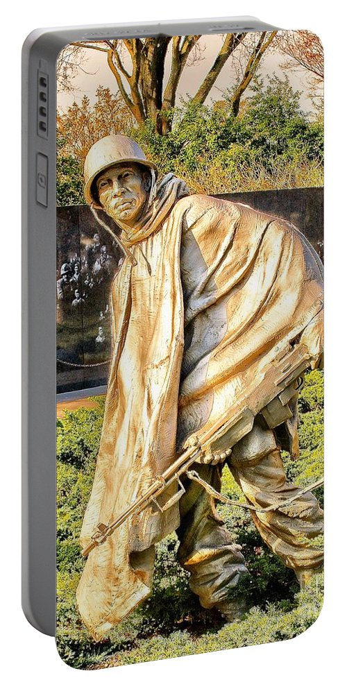 American Portable Battery Charger featuring the photograph Korean War Memorial by Nick Zelinsky